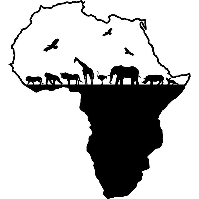 Sticker carte de l 39 afrique avec les animeaux stickers - Coloriage d afrique ...