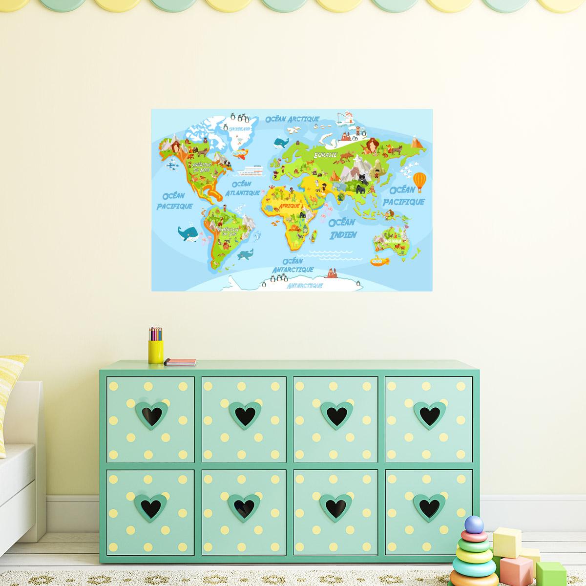 Stickers muraux pour les enfants sticker carte du monde éducatif pour les enfants