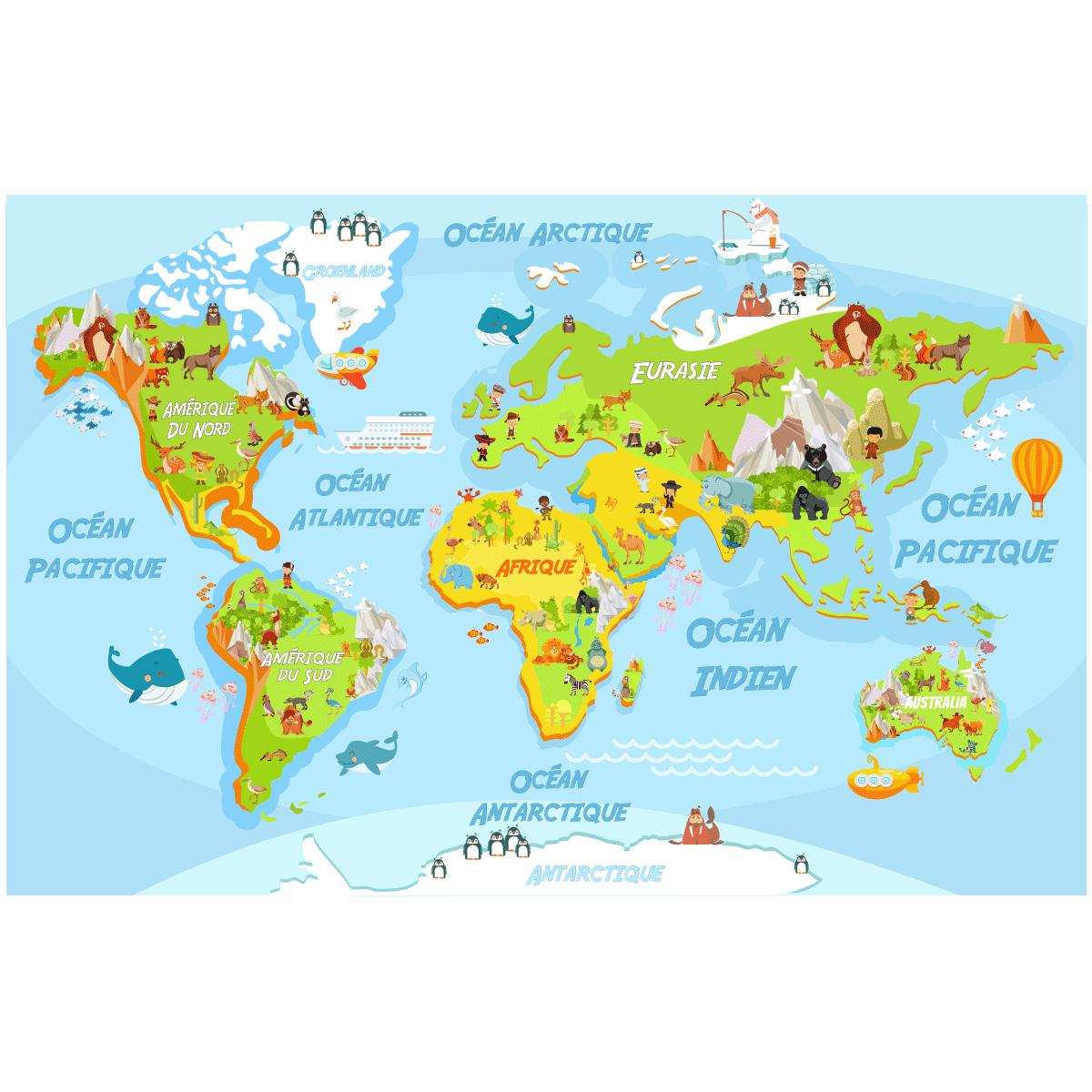 Stickers muraux pour les enfants sticker carte du monde éducatif pour les enfants ambiance