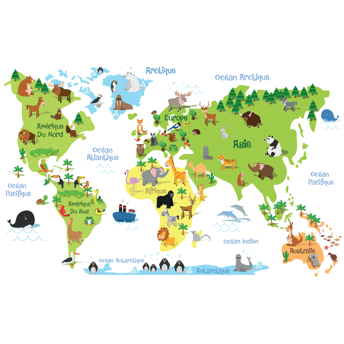 sticker carte du monde enfants stickers stickers enfants carte du monde ambiance sticker. Black Bedroom Furniture Sets. Home Design Ideas