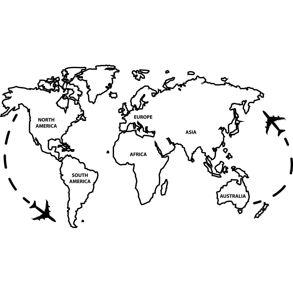 sticker carte du monde ii stickers stickers villes et. Black Bedroom Furniture Sets. Home Design Ideas