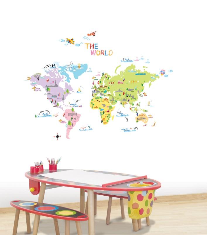 sticker carte du monde stickers enfants ambiance. Black Bedroom Furniture Sets. Home Design Ideas