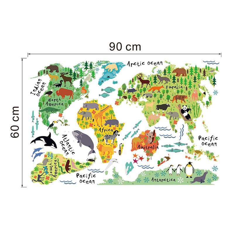 sticker carte du monde pour enfants animaux du monde stickers villes et voyages pays et. Black Bedroom Furniture Sets. Home Design Ideas