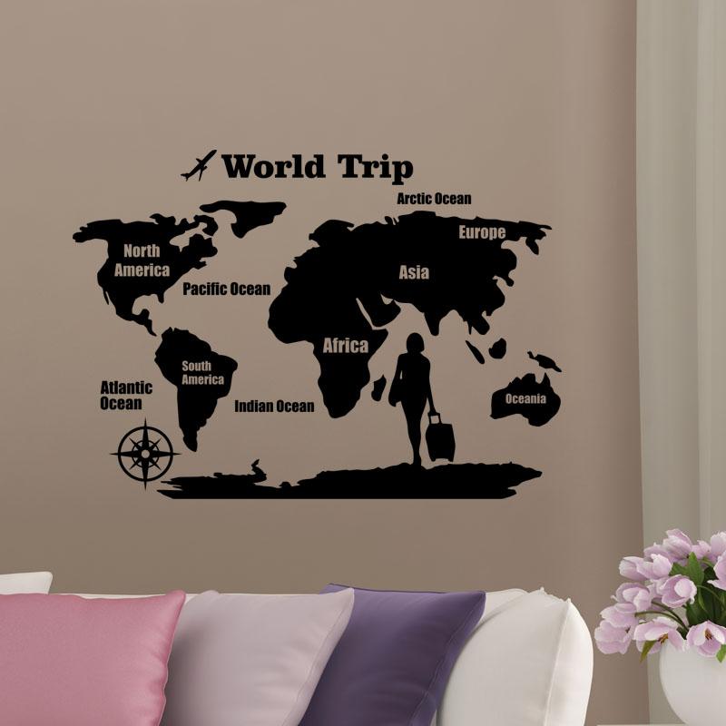 sticker carte du monde world trip stickers stickers. Black Bedroom Furniture Sets. Home Design Ideas