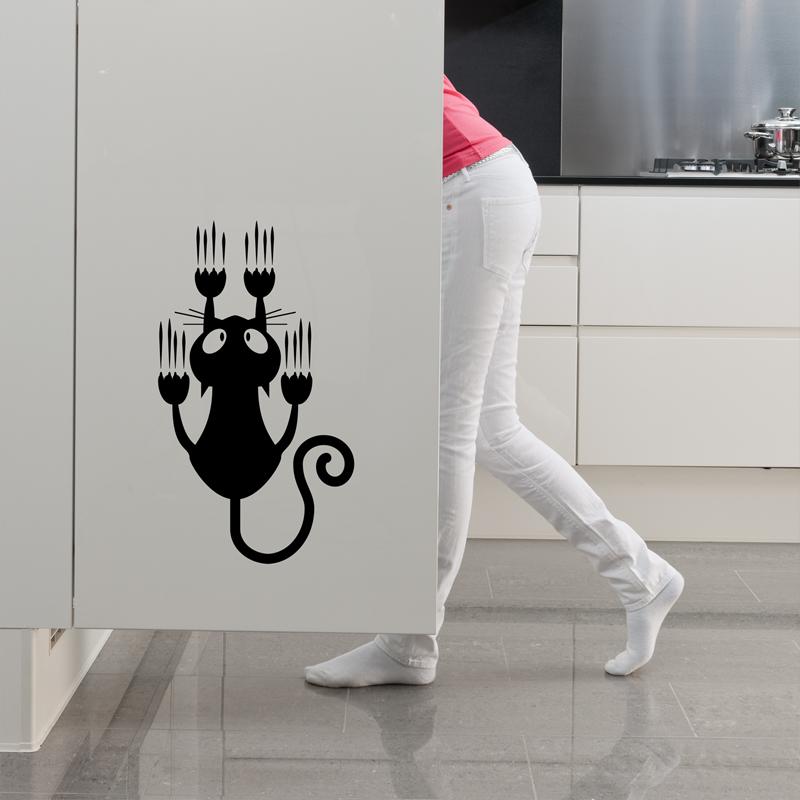 Sticker chat qui glisse stickers stickers cuisine ambiance sticker - Stickers pour cuisine decoration ...