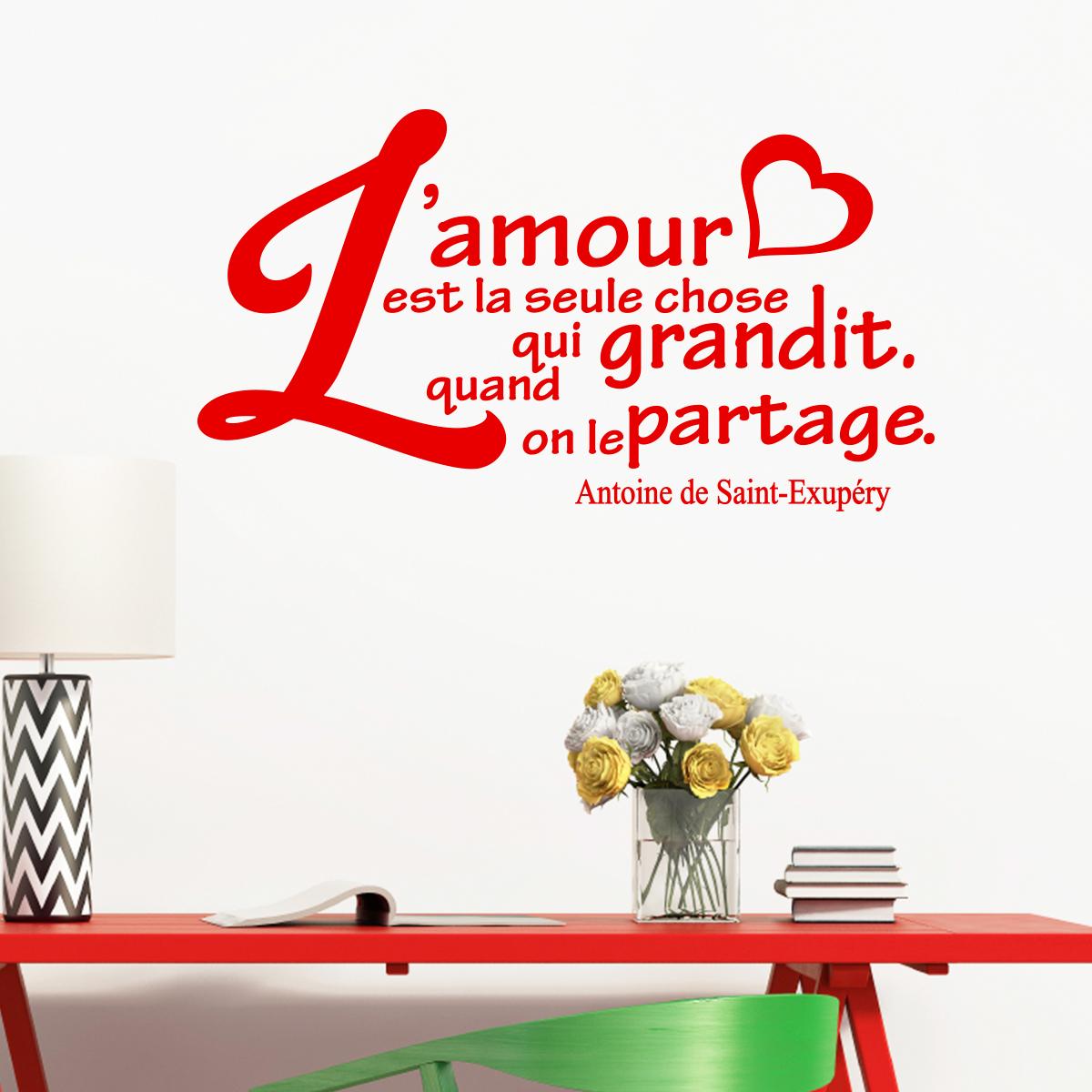 Sticker Citation Amour L Amour Grandit Antoine De Saint Exupéry