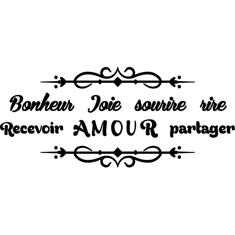 Sticker Citation Bonheur Joie Sourire Rire Amour