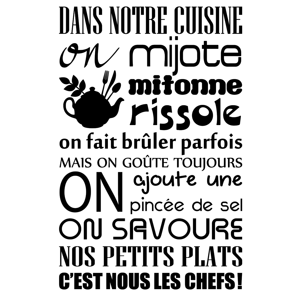 Ambiance Et Style Tableau sticker citation dans notre cuisine on mijote