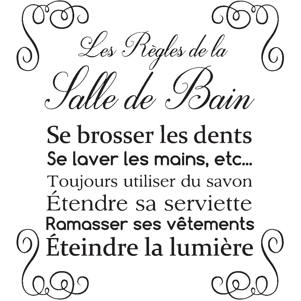 Sticker citation design les r gles de la salle de bain stickers stickers citations fran ais - Citation salle de bain ...