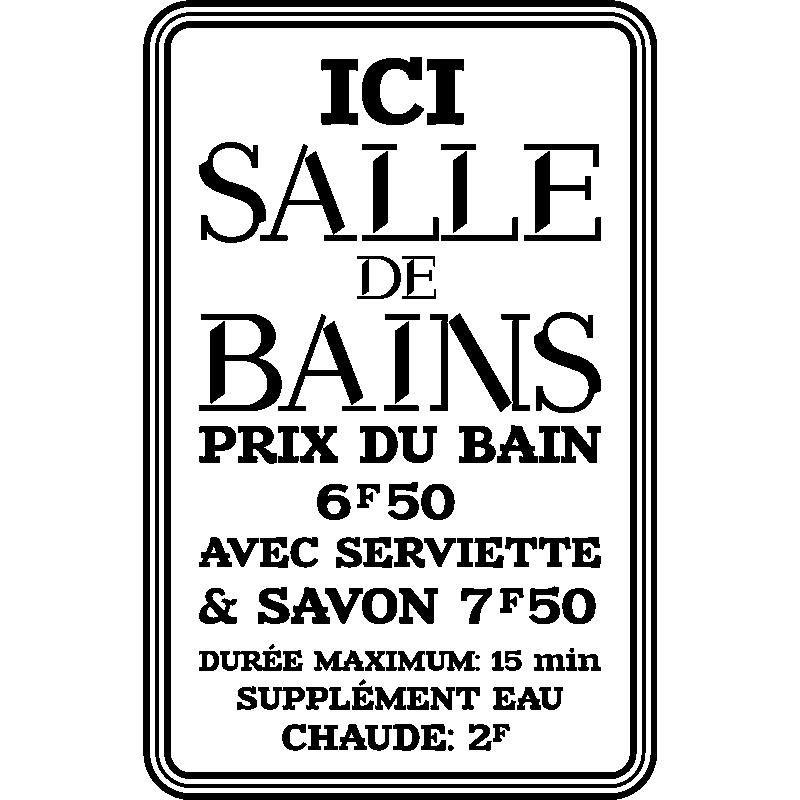 Sticker citation Ici salle de bain – Stickers Salle de Bain Mur ...