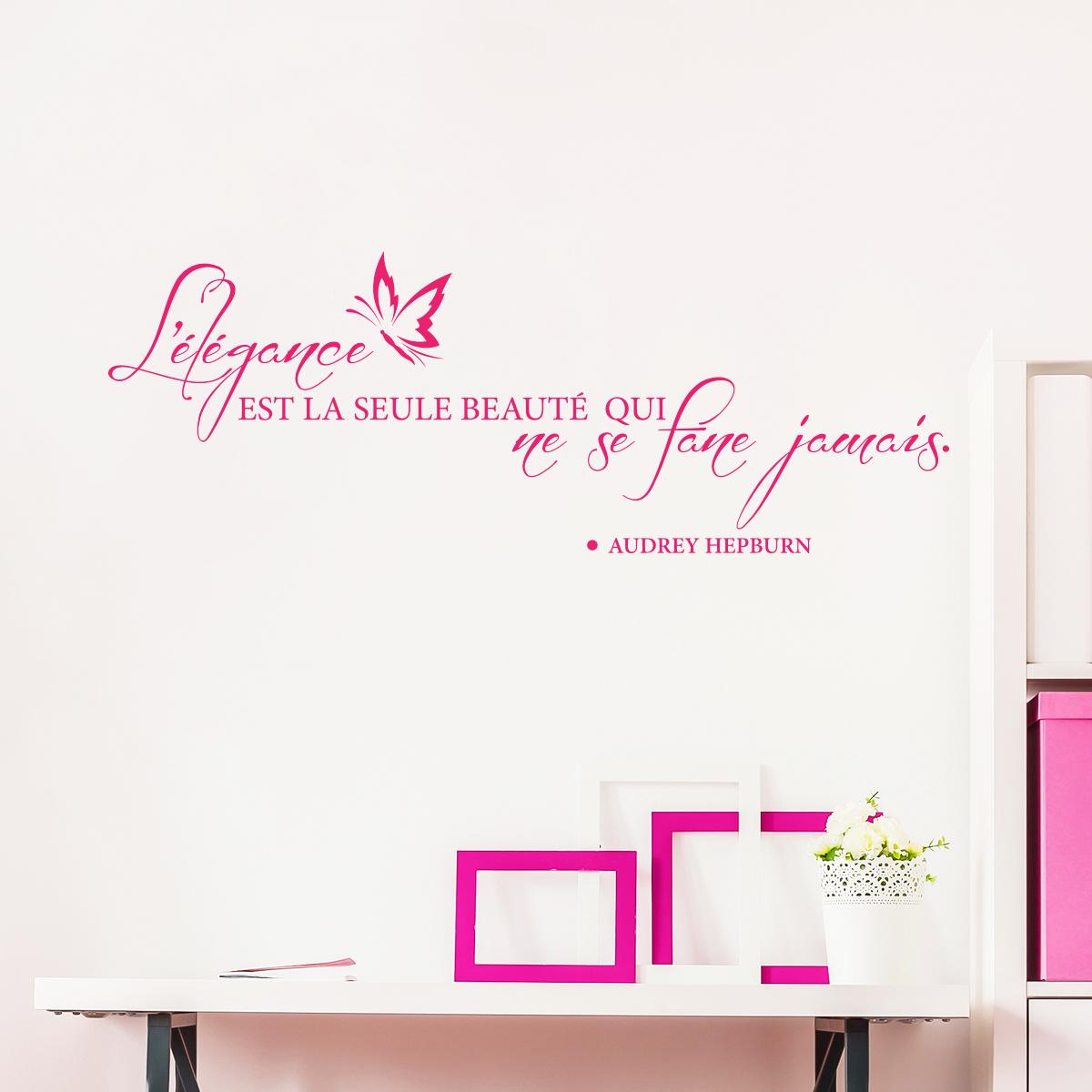 Sticker Citation L Elegance Ne Se Fane Jamais Audrey Hepburn