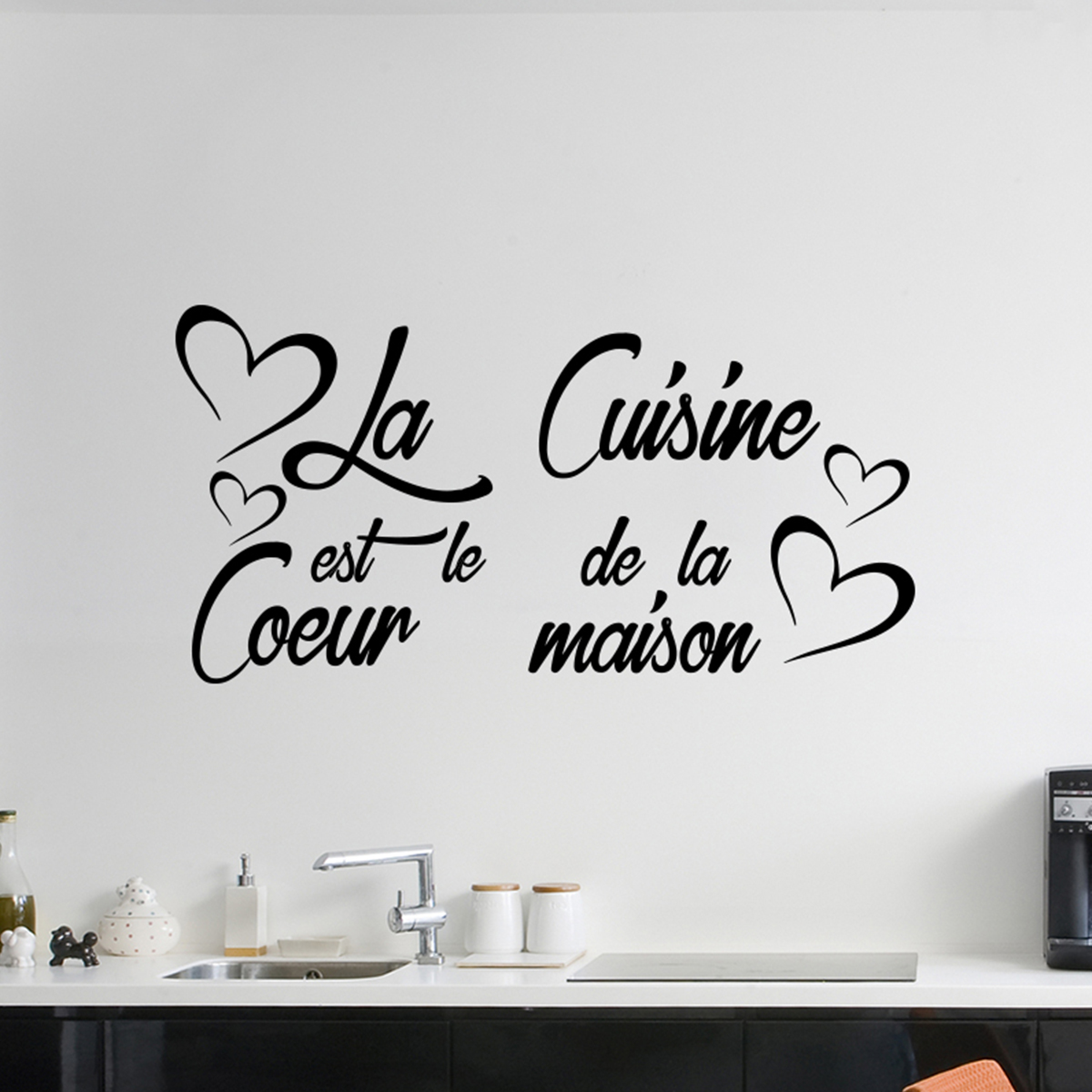 sticker citation la cuisine est le coeur de la maison stickers citations fran ais ambiance. Black Bedroom Furniture Sets. Home Design Ideas