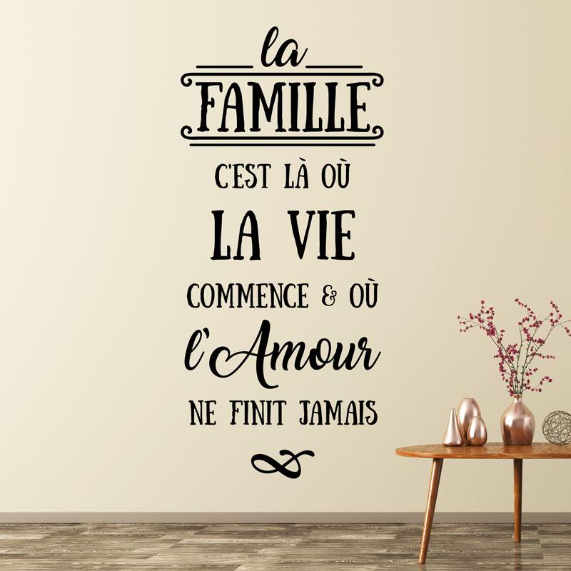 Sticker Citation La Famille C Est Là Où La Vie