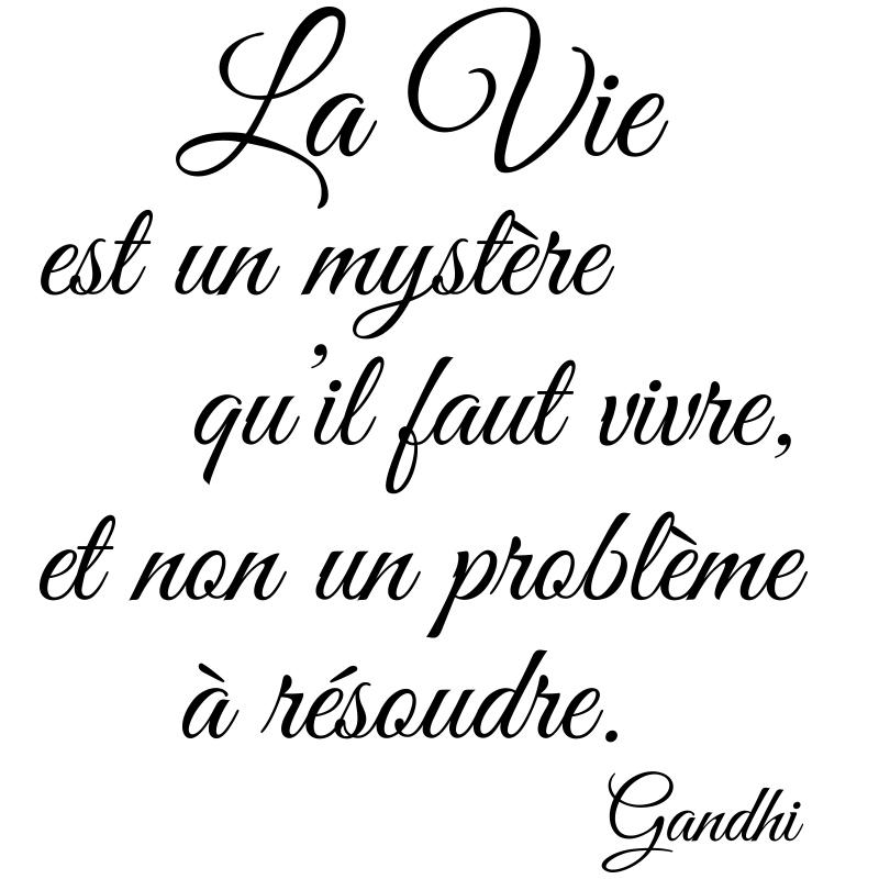 Sticker Citation La Vie Est Un Mystère Gandhi