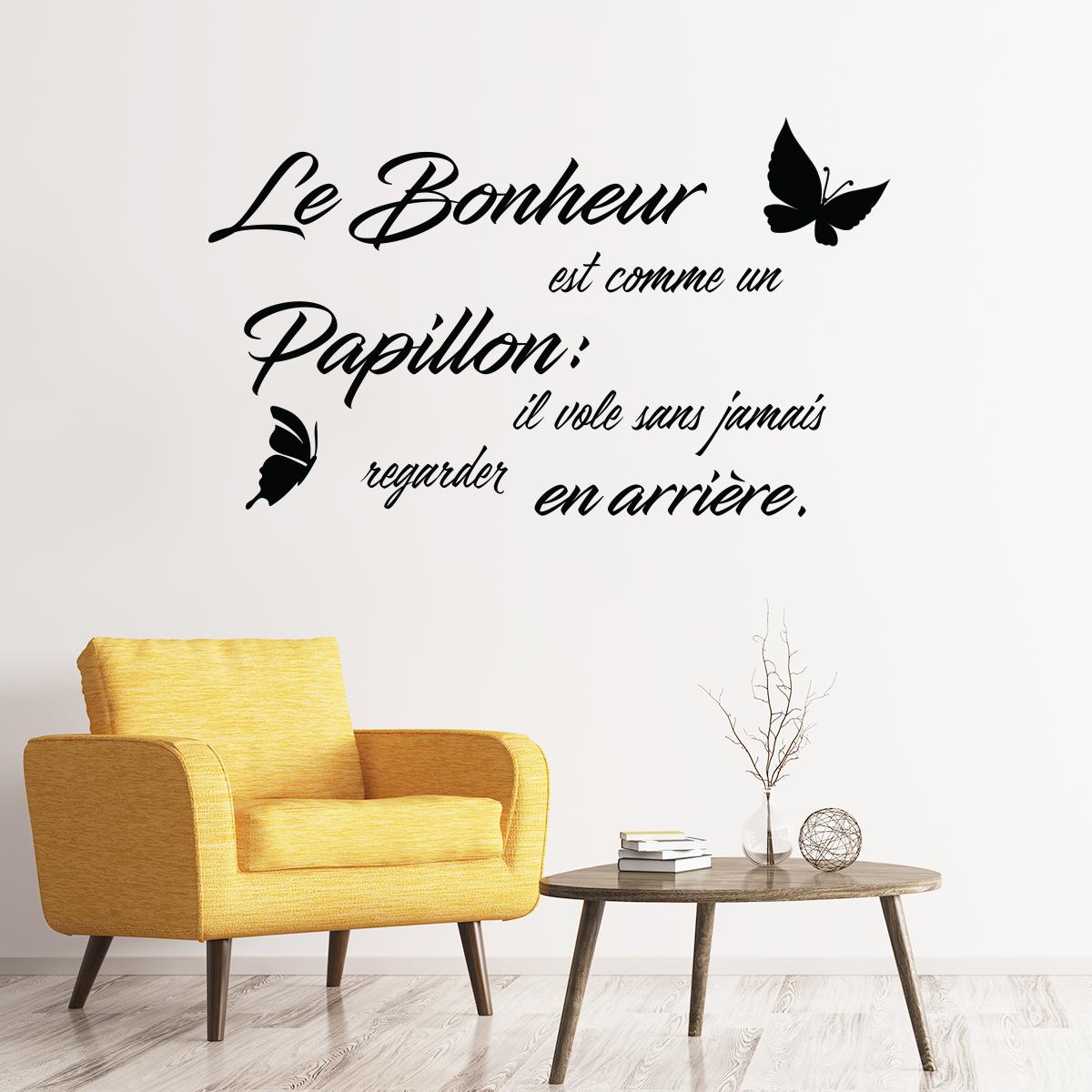 Sticker Texte Le Bonheur est comme un Papillon ...