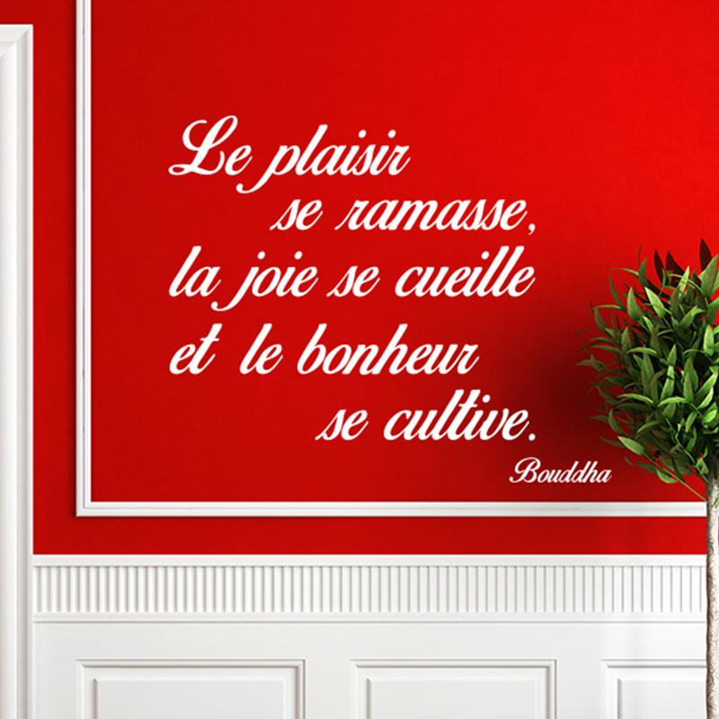 Sticker Citation Le Plaisir La Joie Le Bonheur Bouddha