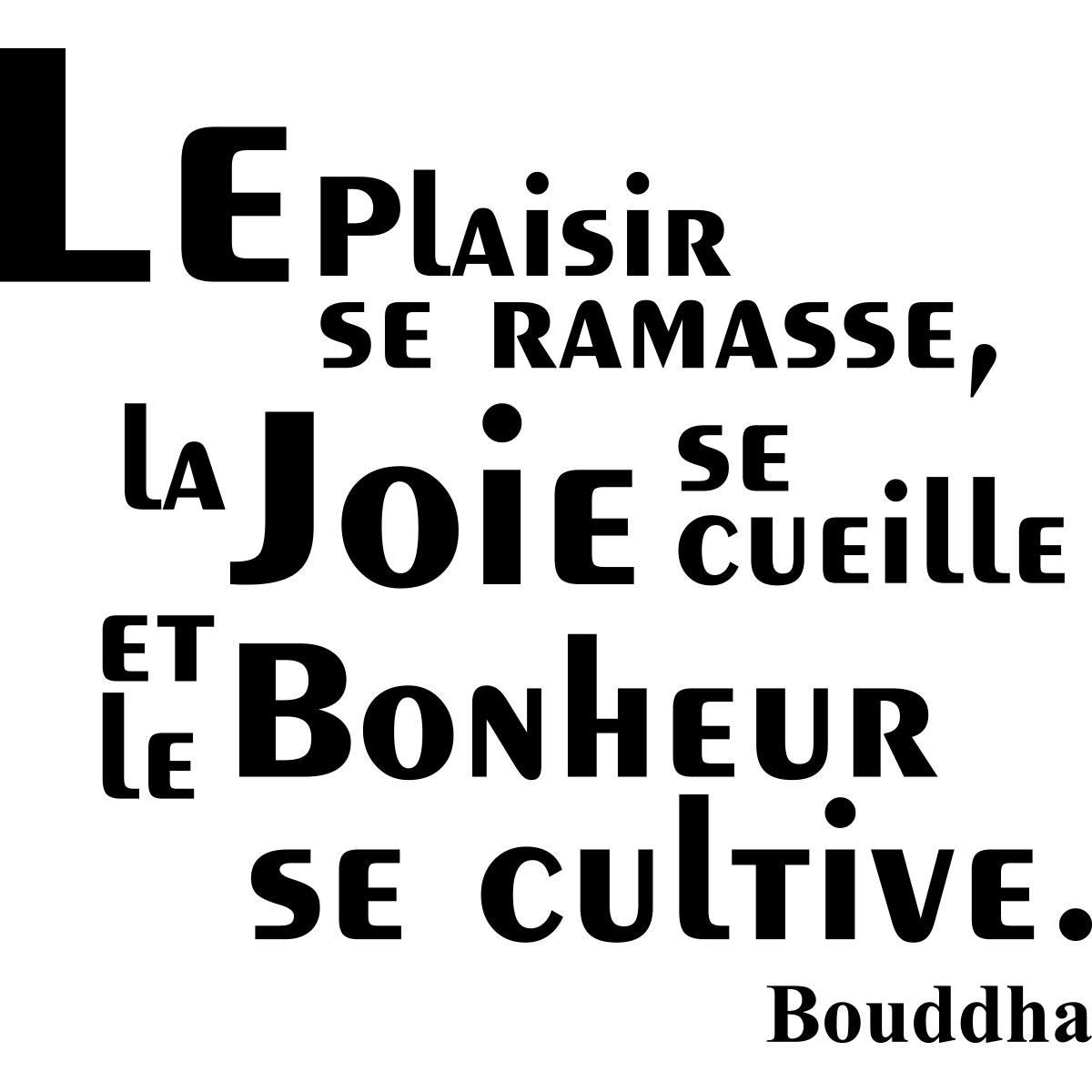 Sticker Citation Le Plaisir Se Ramasse Bouddha