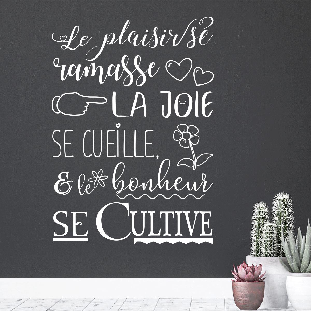 Sticker Citation Le Plaisir Se Ramasse La Joie