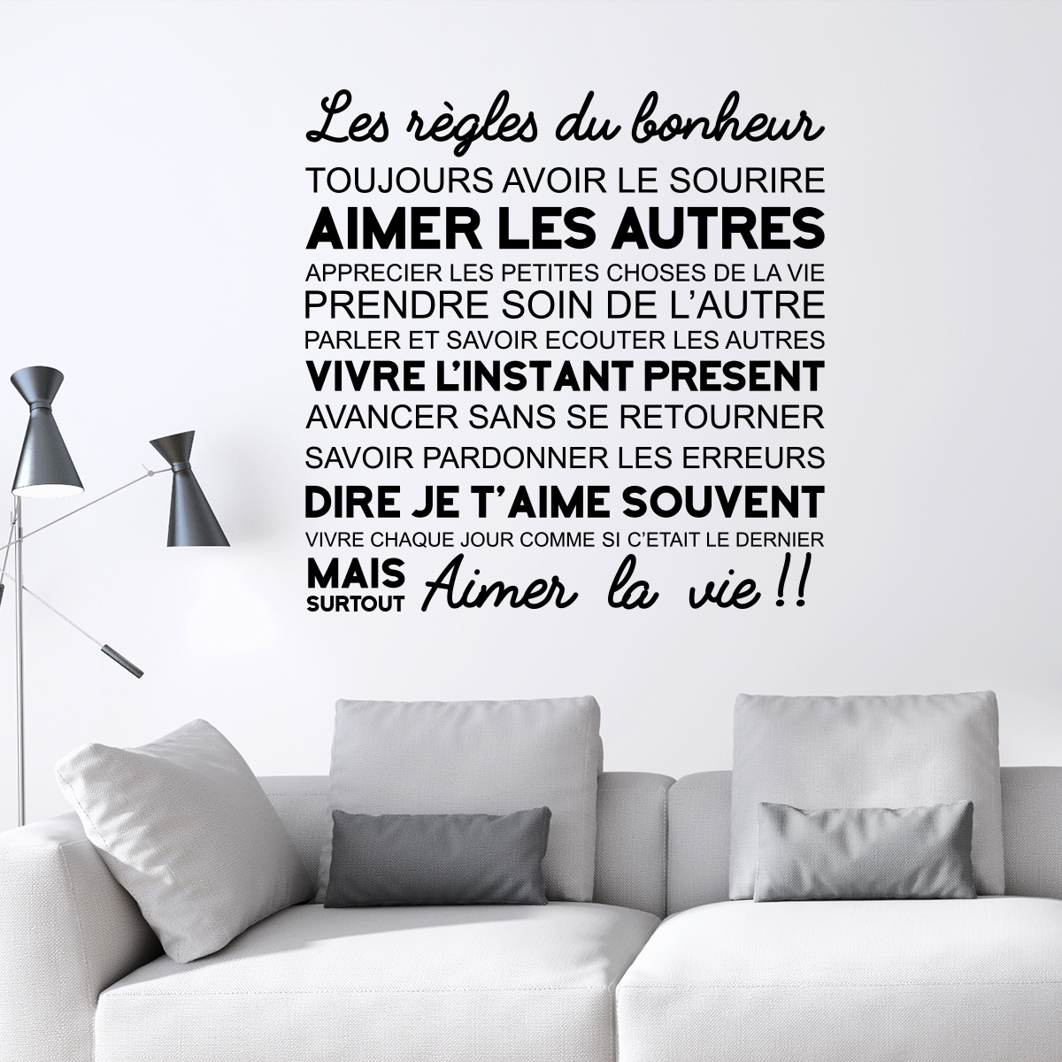 sticker citation les r gles du bonheur stickers citations fran ais ambiance sticker. Black Bedroom Furniture Sets. Home Design Ideas