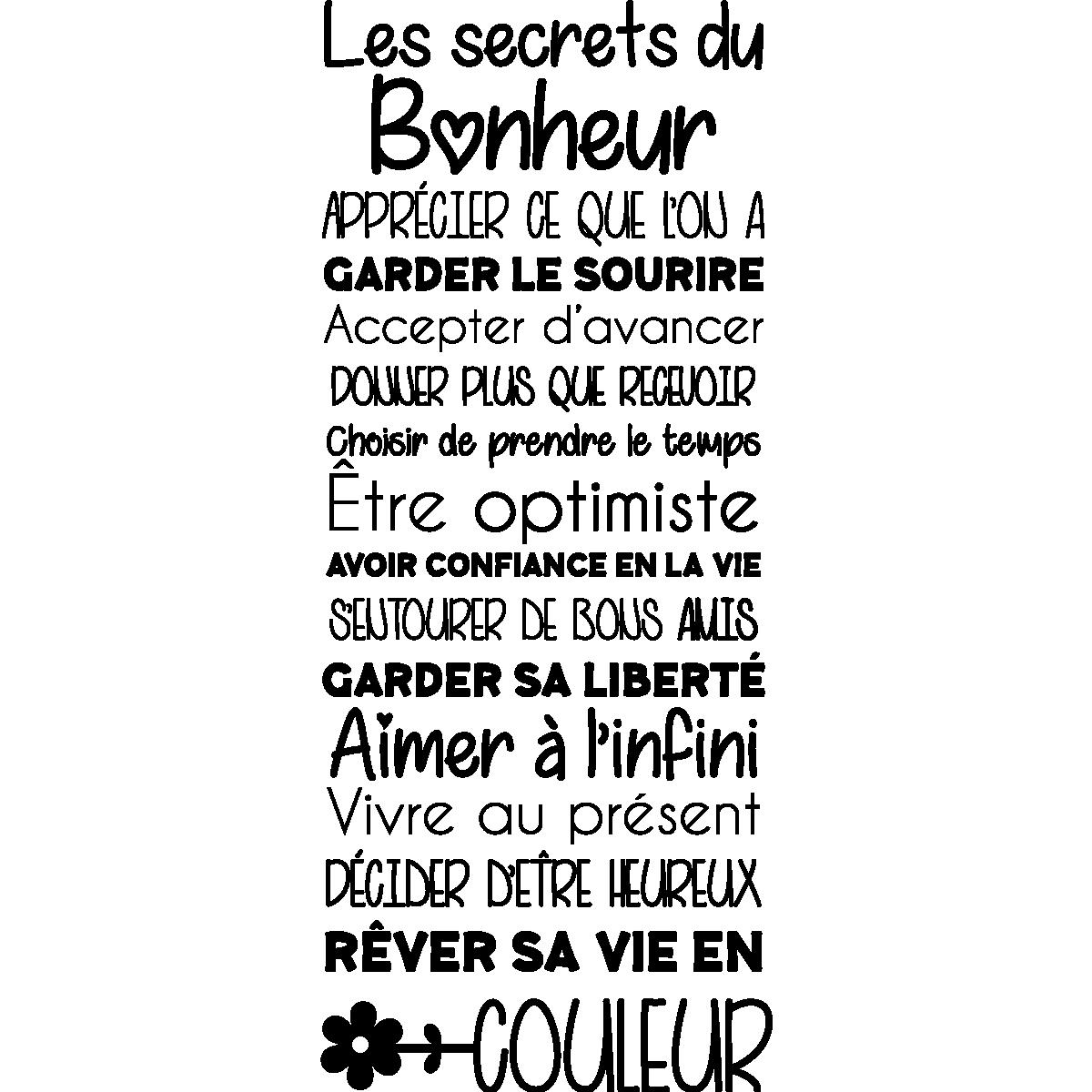 Sticker citation les secrets du bonheur – Stickers Citations