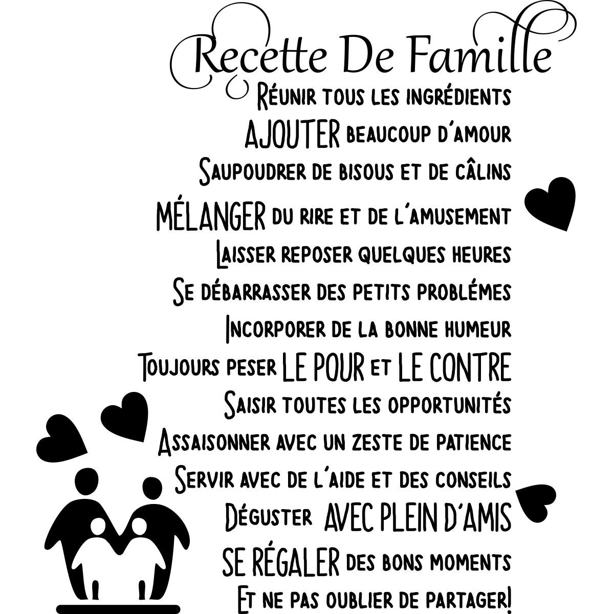 Sticker Citation Recette De Famille