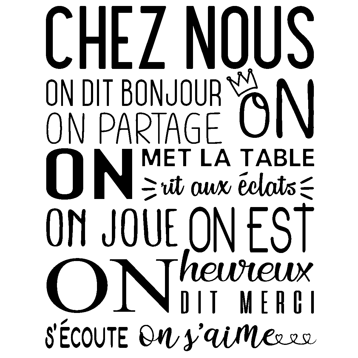Quote Wall Decal Regle De La Maison Chez Nous Wall Decals Quote Wall Stickers French Ambiance Sticker