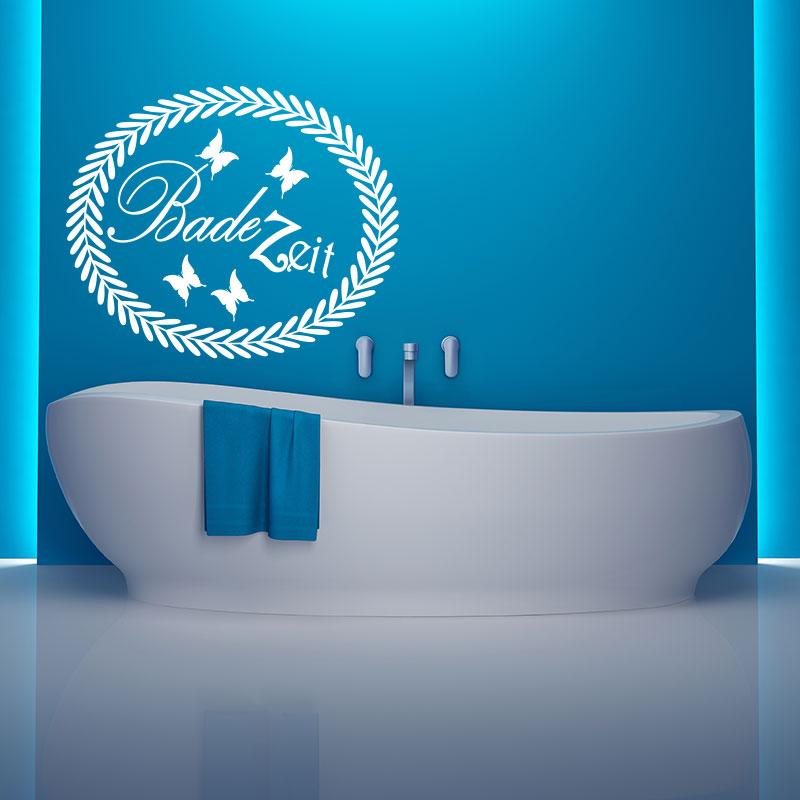 Sticker citation salle de bain bade zeit stickers animaux papillons ambiance sticker - Citation salle de bain ...