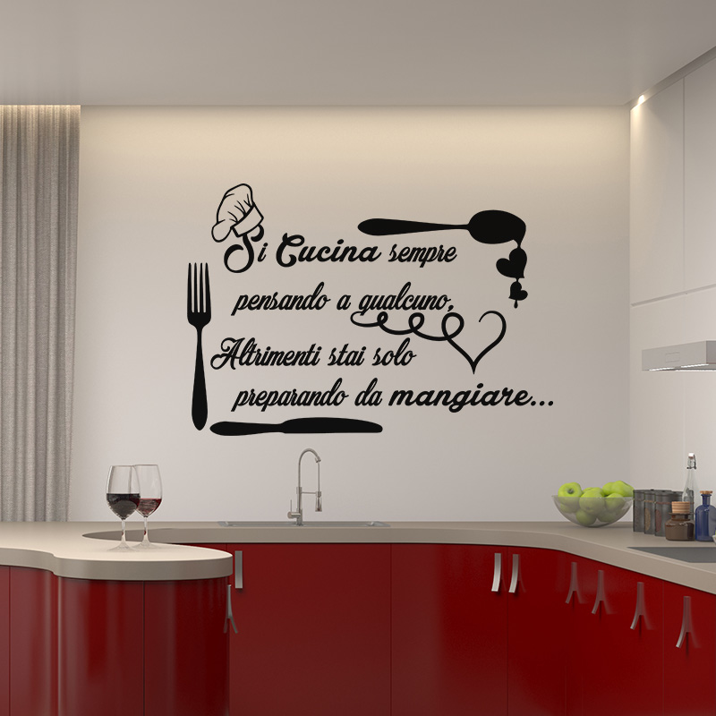 Sticker citation si cucina sempre stickers cuisine for Stickers cucina