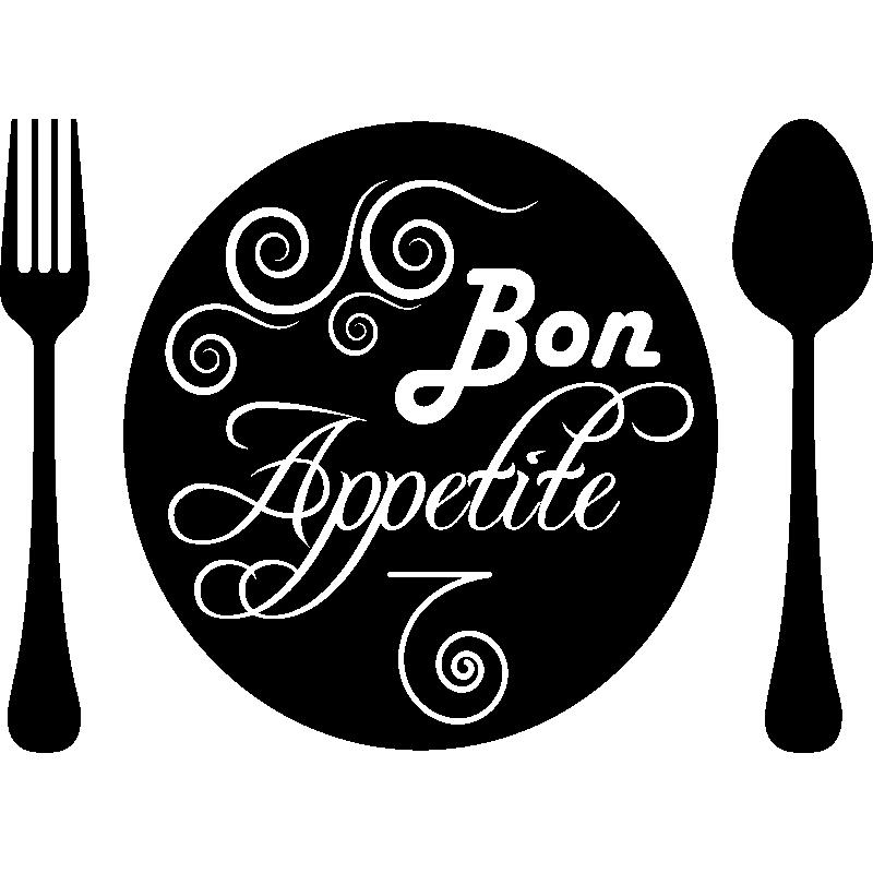 Sticker cuisine assiette bon appetite stickers cuisine textes et recettes ambiance sticker - Assiette dessin ...