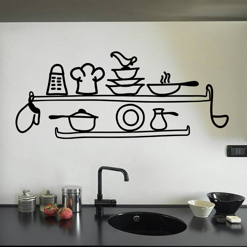 Captivant Stickers Muraux Pour La Cuisine   Sticker Cuisine Etagère De Cuisine
