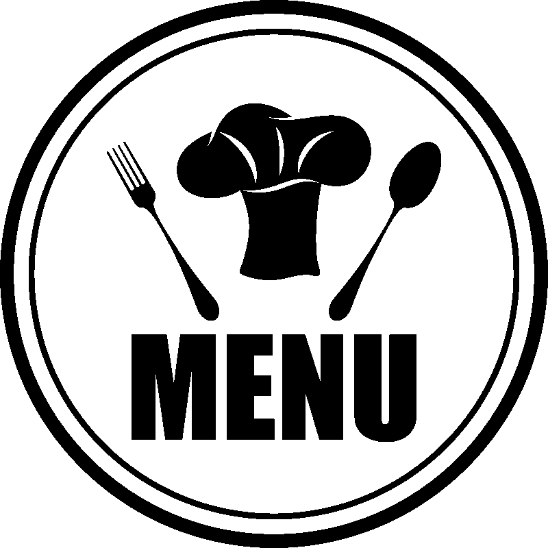 Sticker cuisine menu fourchette cuill re et toque - Image toque cuisinier ...