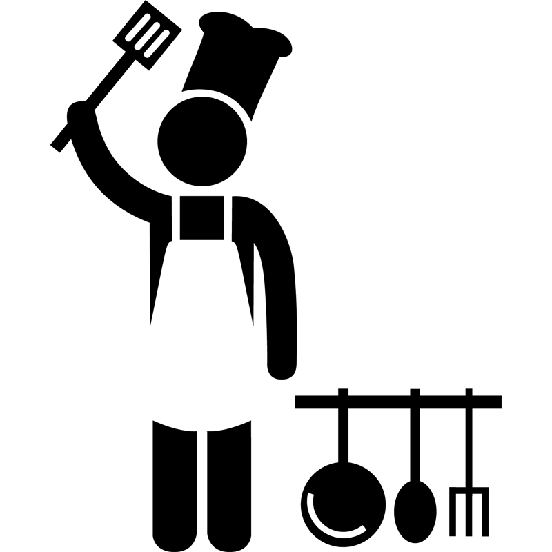 sticker cuisinier avec ustensiles de cuisine stickers cuisine ustensiles ambiance sticker. Black Bedroom Furniture Sets. Home Design Ideas