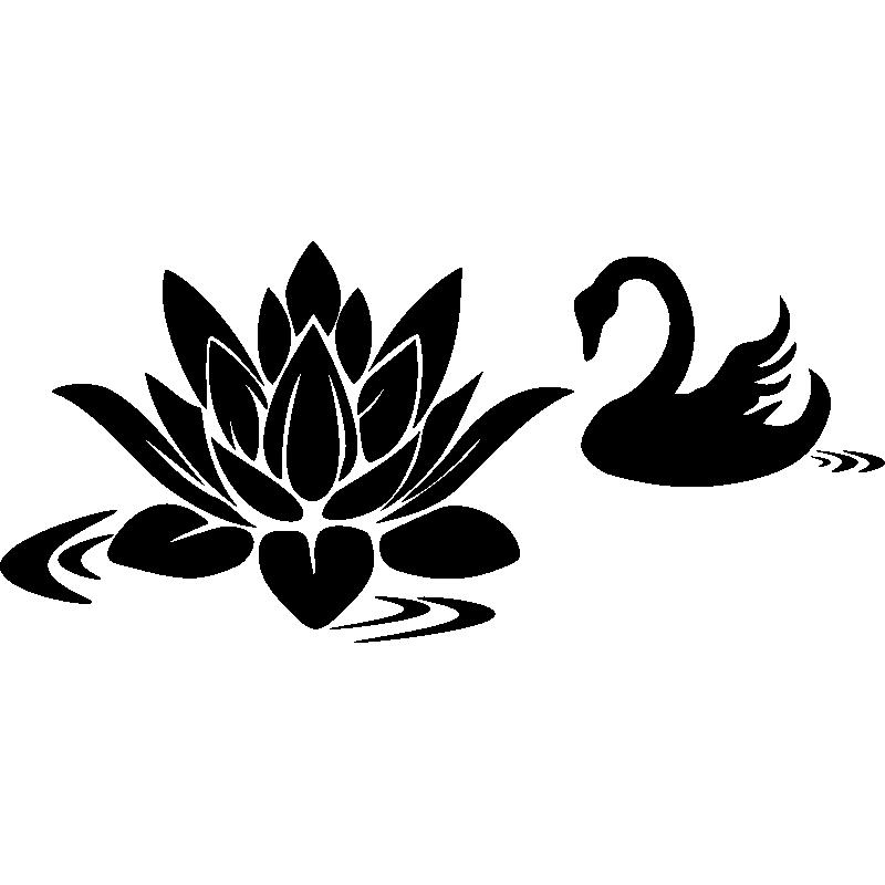 sticker cygne paisible et la fleur de lotus stickers. Black Bedroom Furniture Sets. Home Design Ideas
