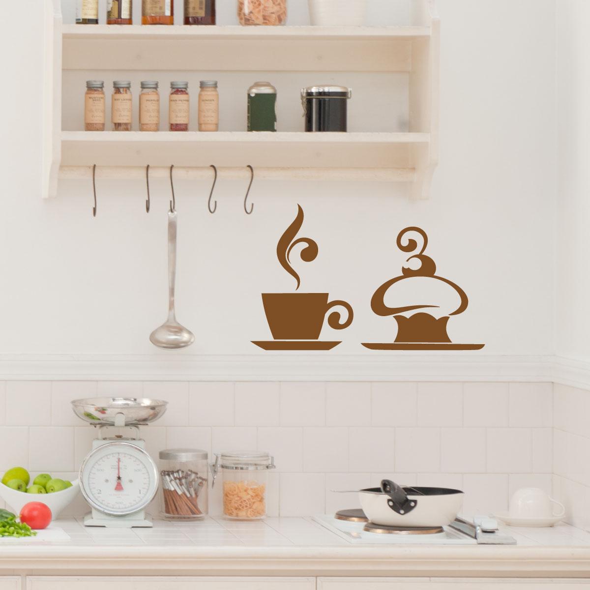 Stickers muraux pour la cuisine sticker caf et g teau Stickers pour la cuisine