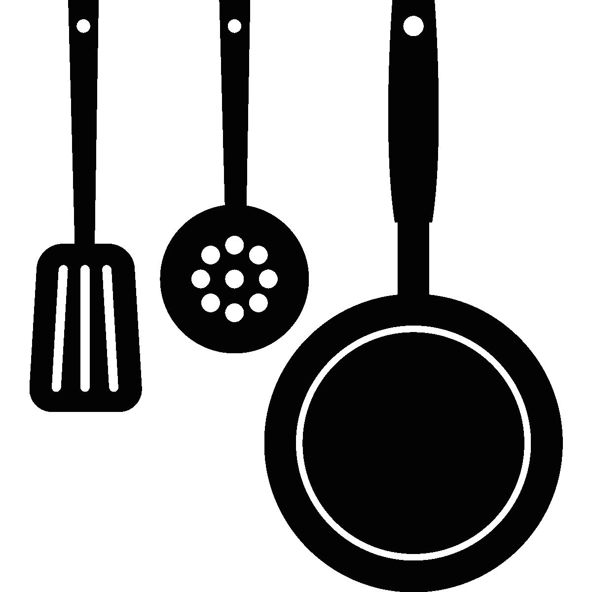 Sticker déco ustensiles de cuisine pendu