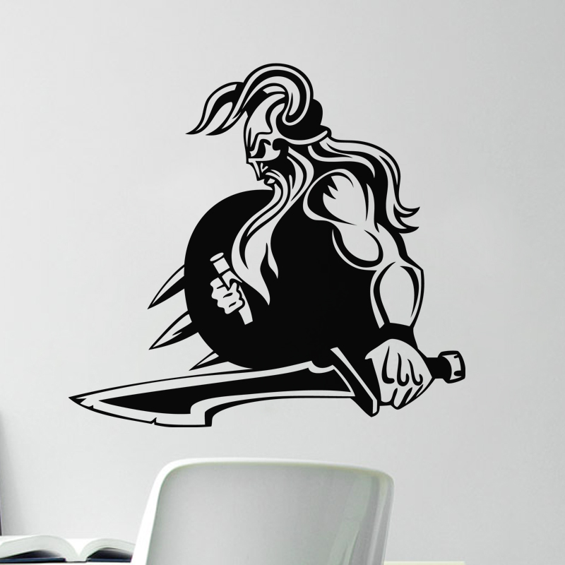 sticker design silhouette grand guerrier tenant une p e