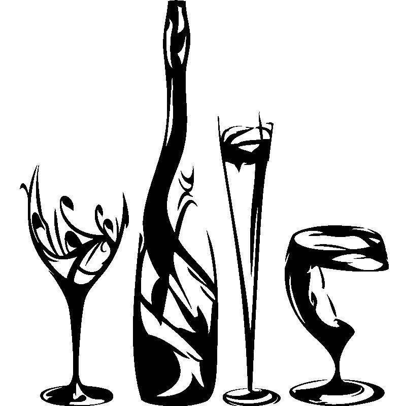 Bouteille De Champagne Dessin sticker design verres, bouteille de champagne - stickers cuisine