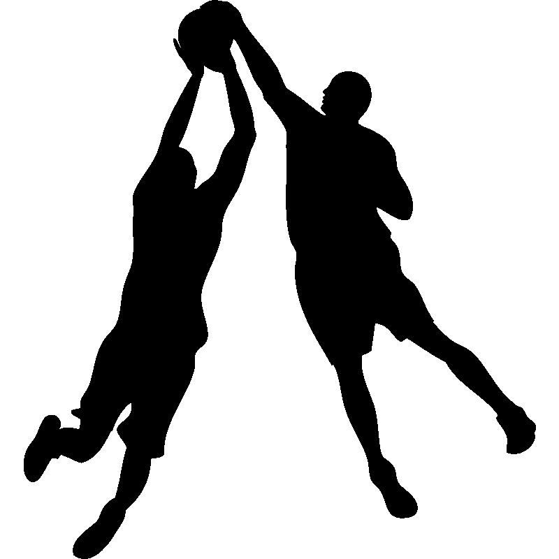 stickers de silhouettes et personnages sticker basketteur avec un ballon ambiance. Black Bedroom Furniture Sets. Home Design Ideas