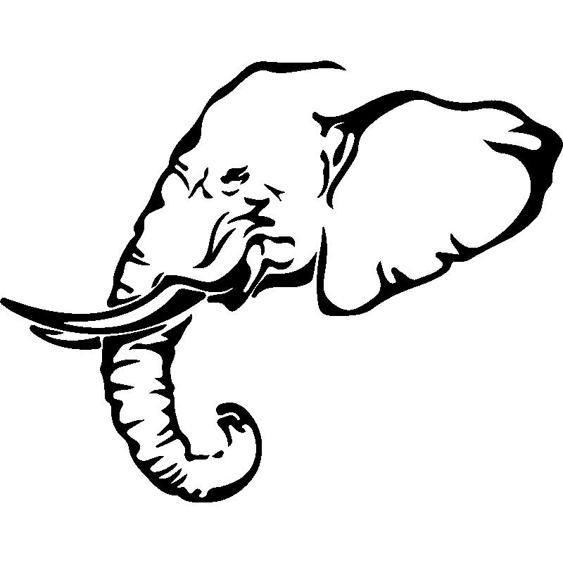 Sticker l phant profil stickers animaux animaux d - Tete elephant dessin ...