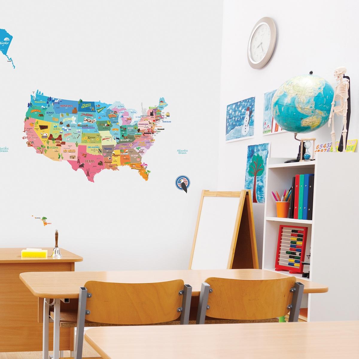 stickers muraux pour les enfants sticker enfant carte. Black Bedroom Furniture Sets. Home Design Ideas