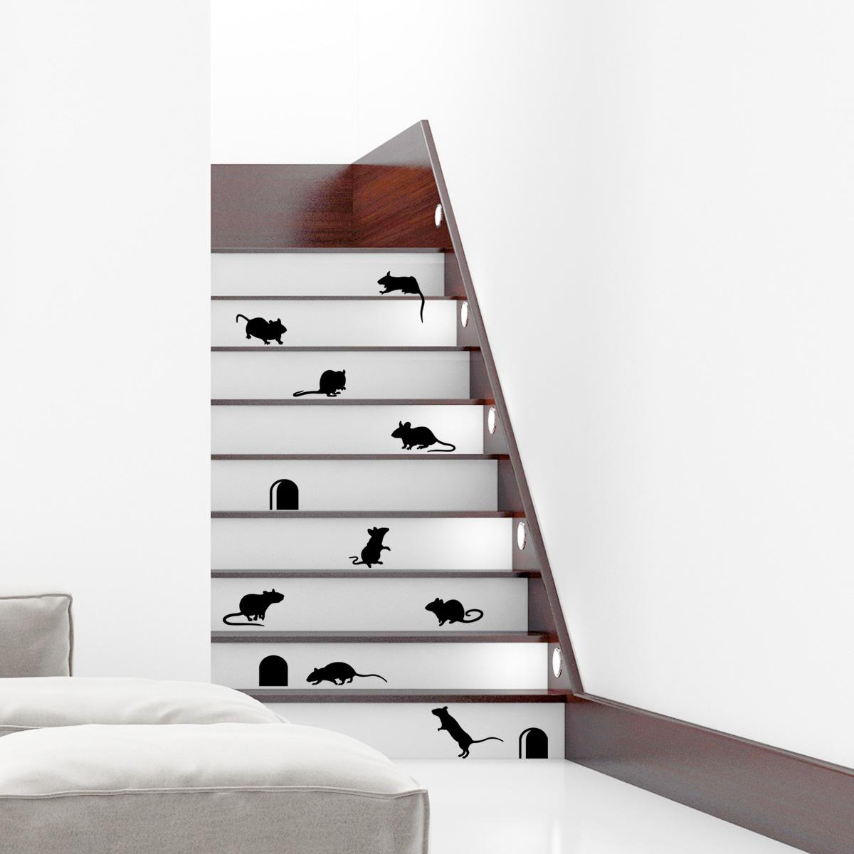 Décoration Marche Escalier Intérieur sticker escaliers drôles avec souris
