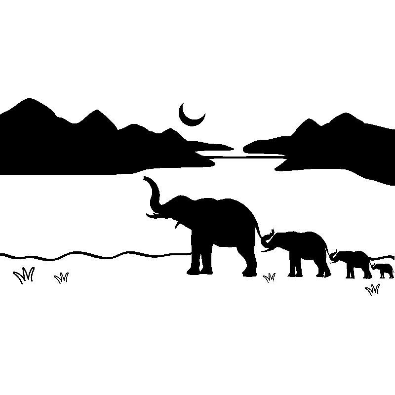 Sticker Famille D Elephant Stickers Animaux Animaux De La Jungle