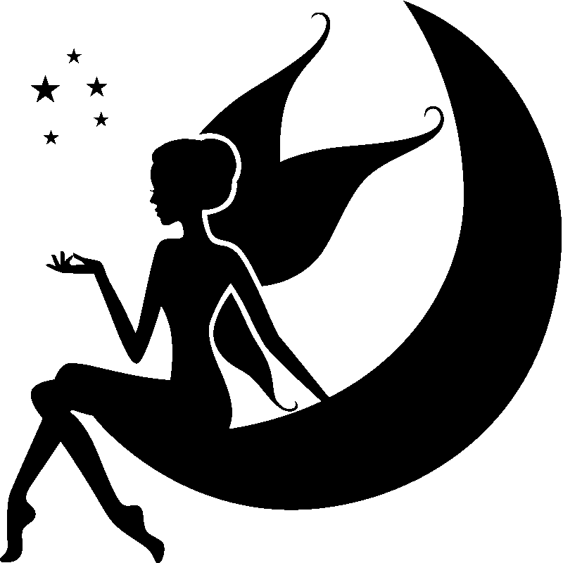 Sticker f e assise sur la lune stickers filles f es - Image de fee a imprimer ...