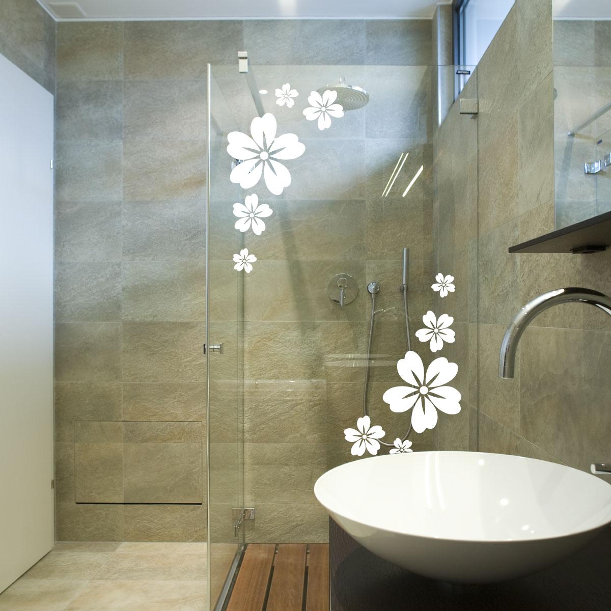 Stickers muraux pour salle de bain sticker mural fleurs - Stickers pour carreaux salle de bain ...