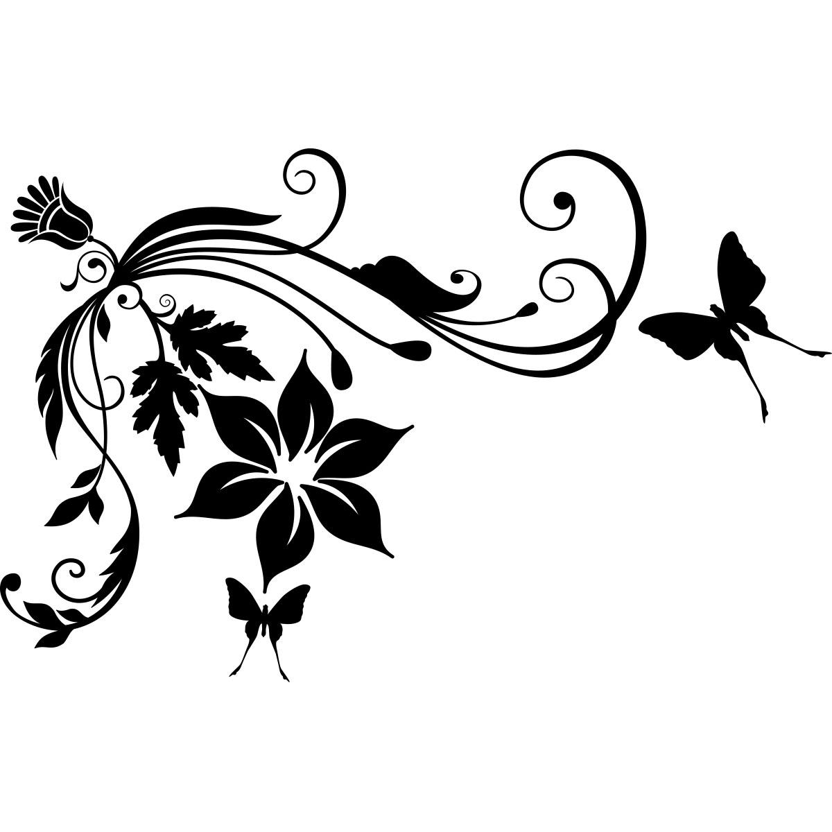 sticker fleurs  u00e0 papillons baroque  u2013 stickers nature