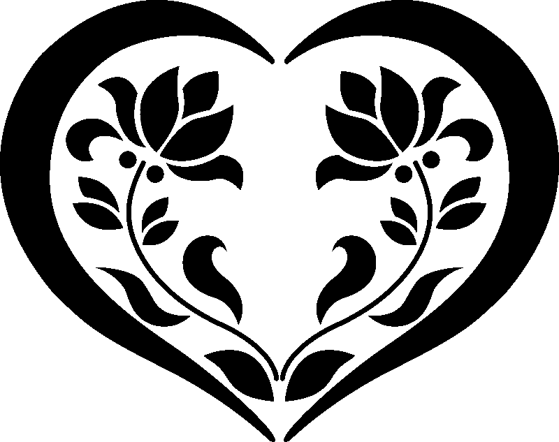 stickers fleurs en coeur. Black Bedroom Furniture Sets. Home Design Ideas