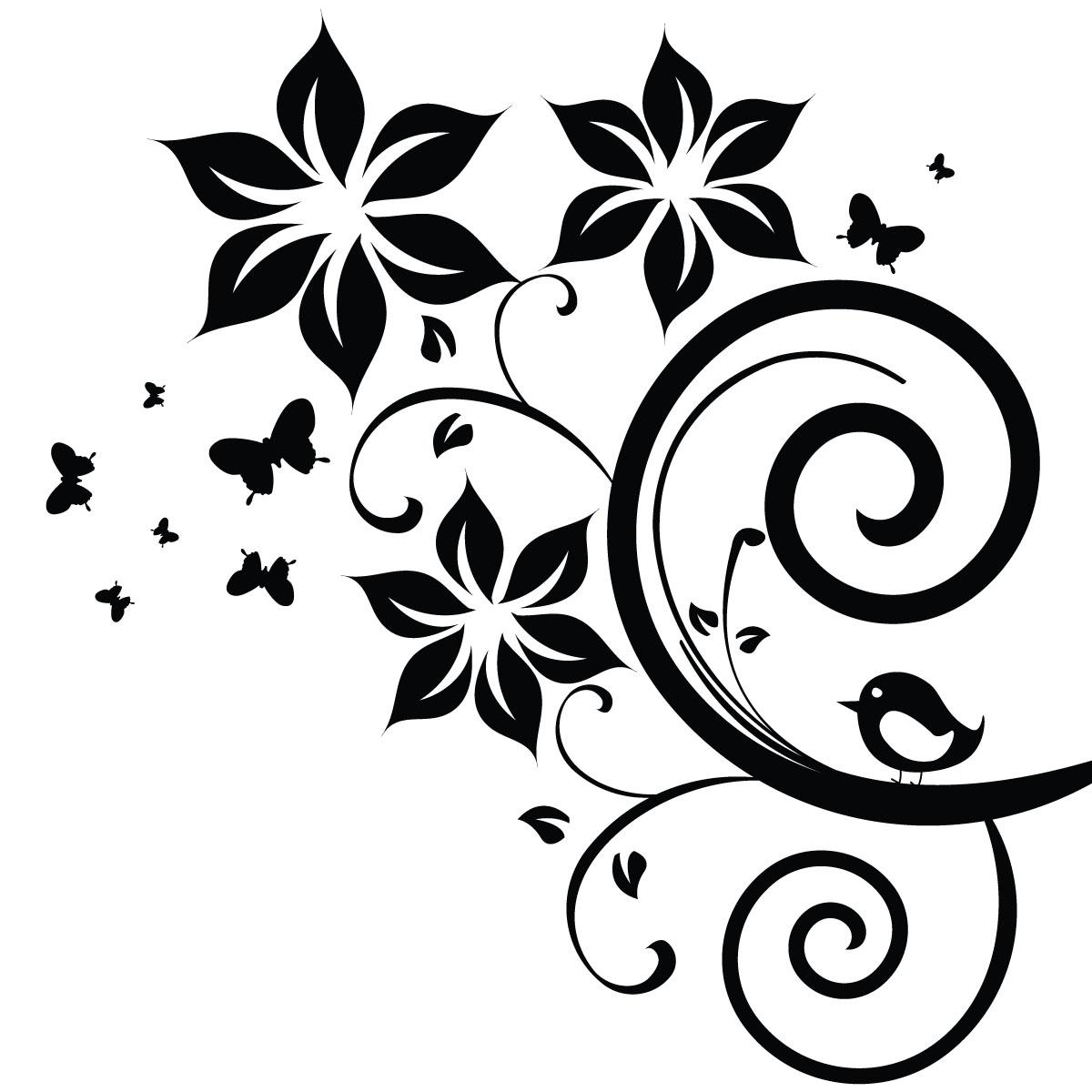 Carrelage Mural Blanc : Sticker fleurs papillons et oiseau stickers nature