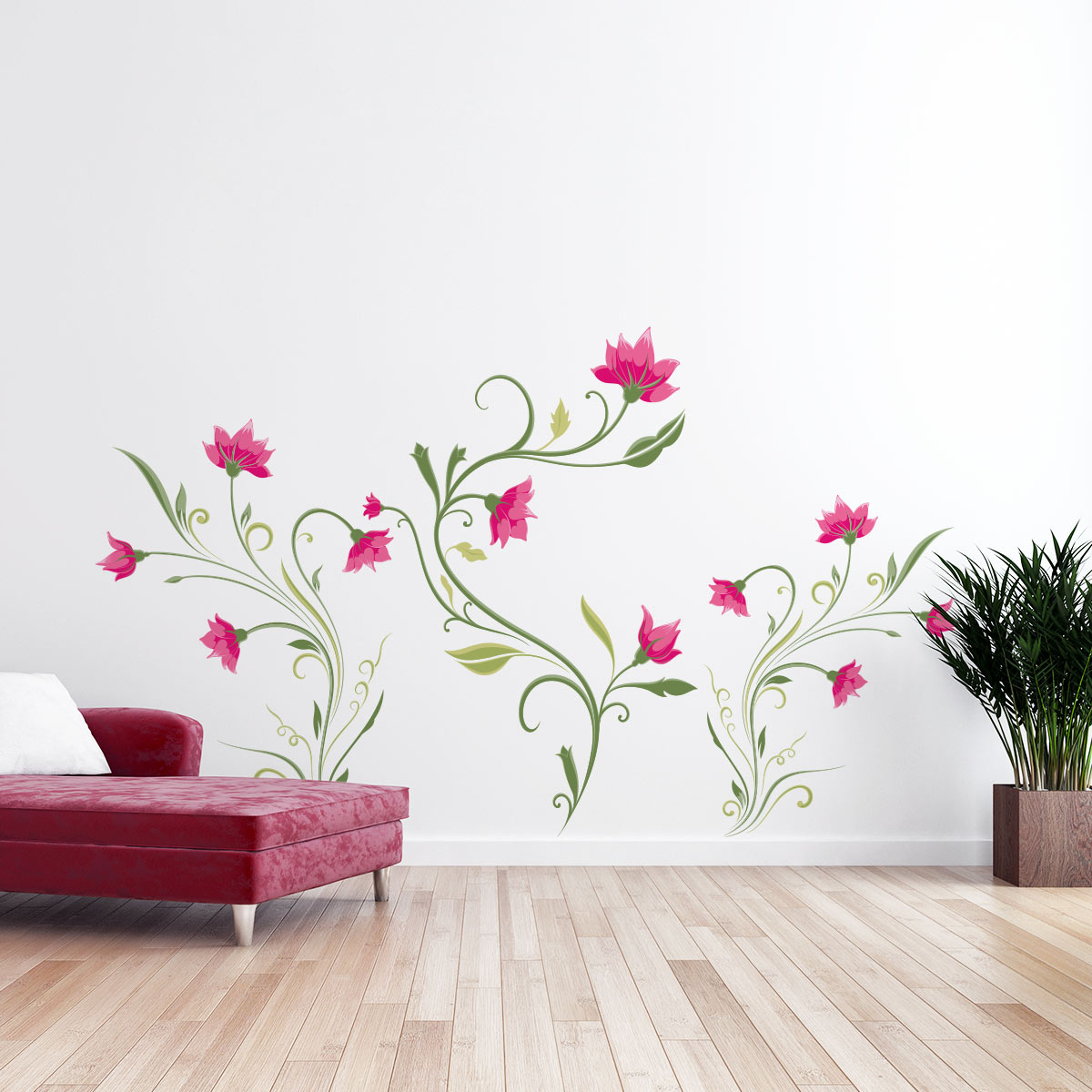 Wall Decal Flower Pink Climbing Plants Wall Decals Wall Decal Nature Flowers Ambiance Sticker