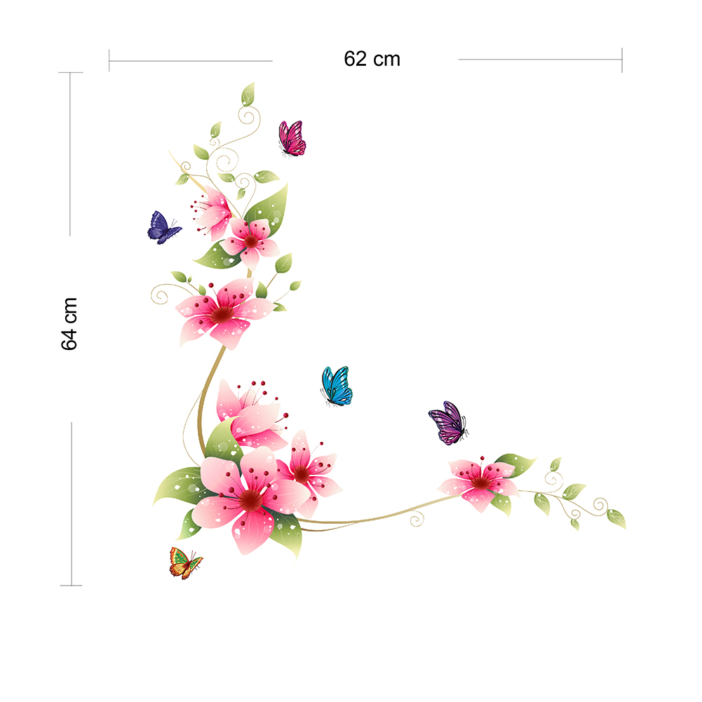 Sticker fleurs roses et papillons stickers nature - Papillon fleur ...