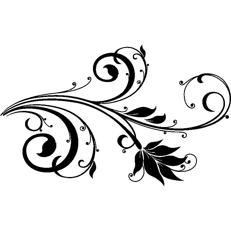 Fleurs Stylisées sticker fleurs stylisée baroque – stickers nature fleurs - ambiance